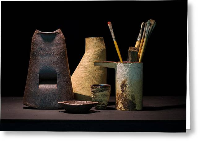 Still Life Ceramics Greeting Cards - Still Life with Brushes Greeting Card by William Sulit
