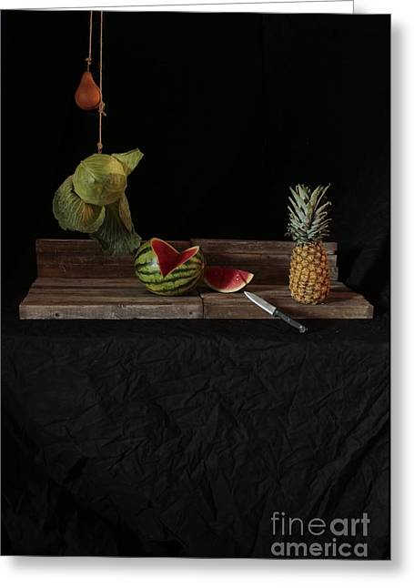Still Life With Cabbage Pear Melon And Pineapple Greeting Card by Joe Jake Pratt