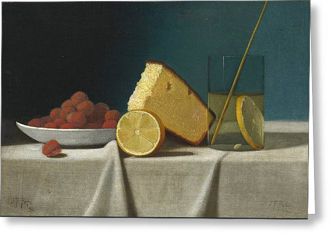 Strawberry Art Greeting Cards - Still Life With Cake - Lemon Strawberries And Glass Greeting Card by John Frederick Peto