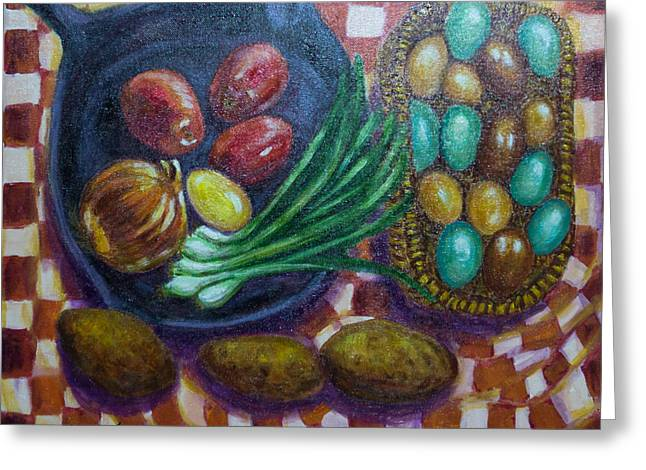 Blue And Green Greeting Cards - Still Life with Cast Iron Pan and Vegetables Greeting Card by Alice Gutierrez