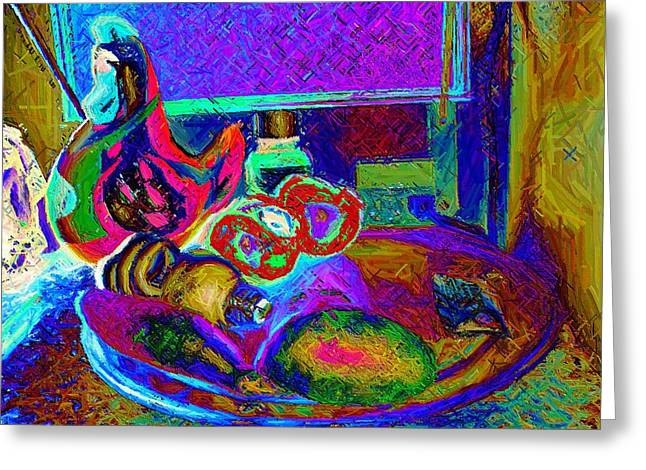 Surreal Geometric Greeting Cards - Still Life with Ceramic Chicken Greeting Card by Howard Lancaster