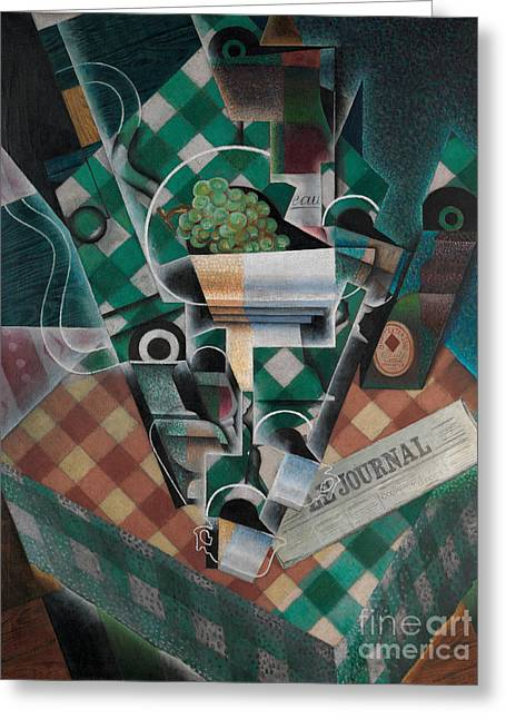 Still Life With Checked Tablecloth Greeting Card by Celestial Images