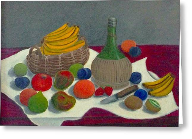 Mango Paintings Greeting Cards - Still Life with Chianti and Fruits Greeting Card by Victoria Lakes