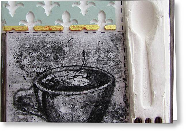 Relief Printing Greeting Cards - Still Life With Coffee Cup Beans And Spoon Greeting Card by Peter Allan
