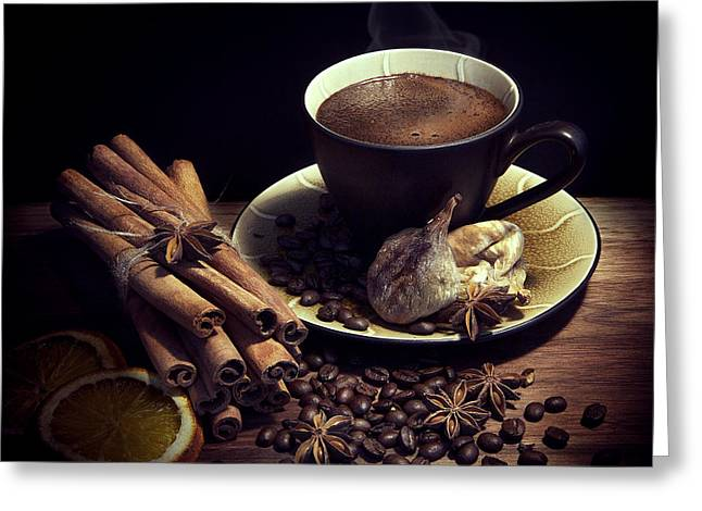 Grain Greeting Cards - Still Life with Coffee Greeting Card by Magda  Bognar