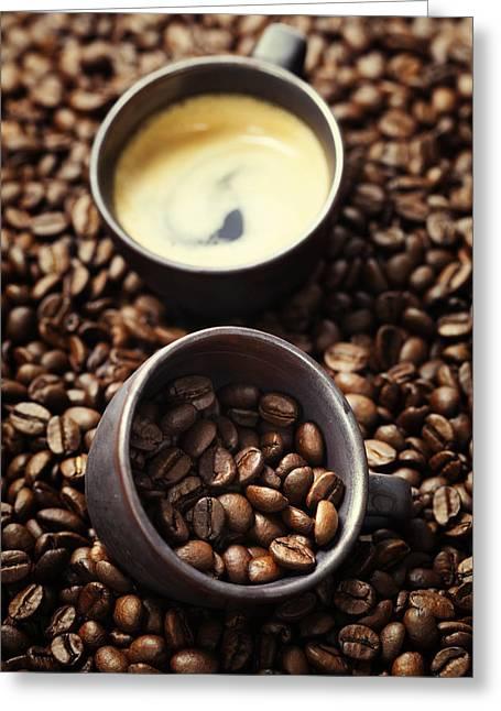 Menu Greeting Cards - Still life with coffee Greeting Card by Natalia Klenova