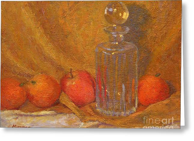 Decanters Paintings Greeting Cards - Still Life with Decanter Apple and Oranges Greeting Card by Margaret Missman