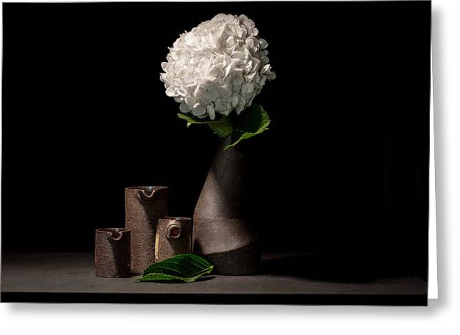 White Ceramics Greeting Cards - Still Life with Flower Greeting Card by William Sulit
