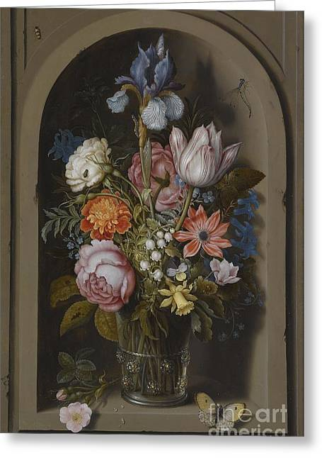 Pink Blossoms Drawings Greeting Cards - Still Life with Flowers Greeting Card by Ambrosius Bosschaert The Elder