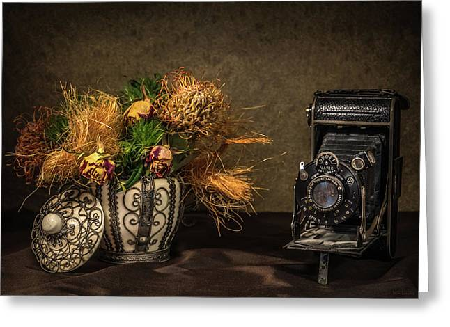 Still Life With Flowers And Camera Greeting Card by Wim Lanclus