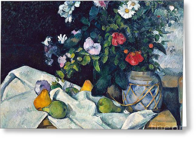 Still Life With Flowers And Fruit Greeting Card by Cezanne