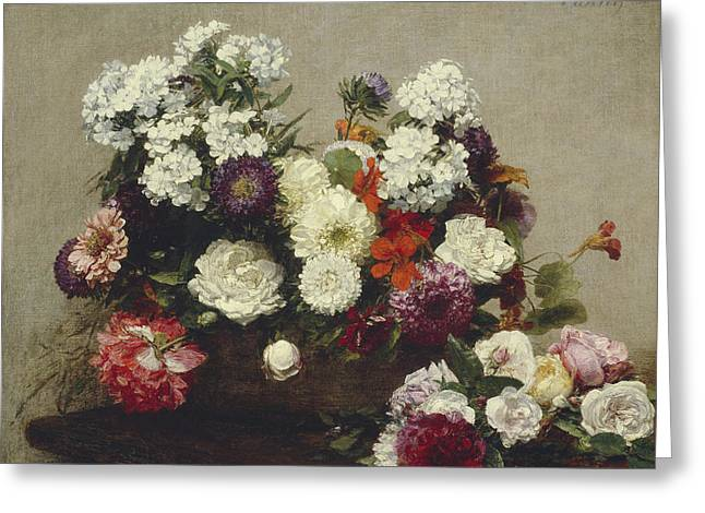 Still Life With Flowers Greeting Card by Ignace Fantin-Latour