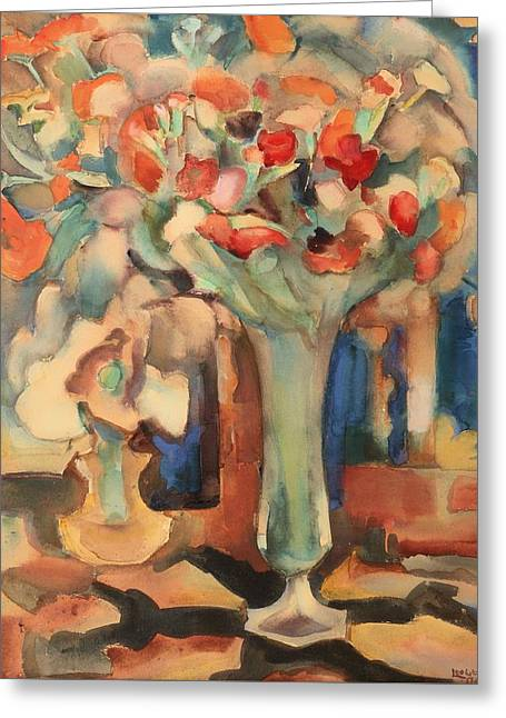 Interior Still Life Paintings Greeting Cards - Still Life With Flowers In A Glass Vase Greeting Card by Leo Gestel
