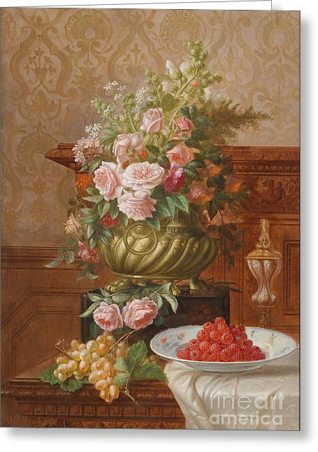 Fruit And Flowers Greeting Cards - Still Life with Fruit and Flowers Greeting Card by Celestial Images