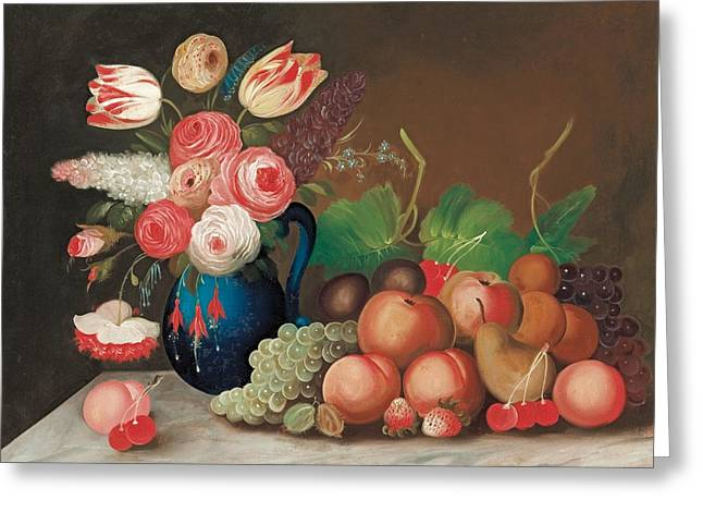 Outsider Art Paintings Greeting Cards - Still life with fruit and flowers Greeting Card by William Buelow Gould