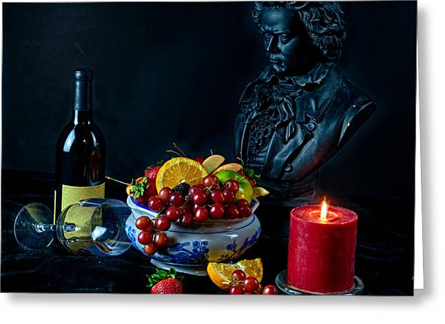 Interior Still Life Greeting Cards - Still life with fruit and glass of wine beethoven Greeting Card by Nelson Charette