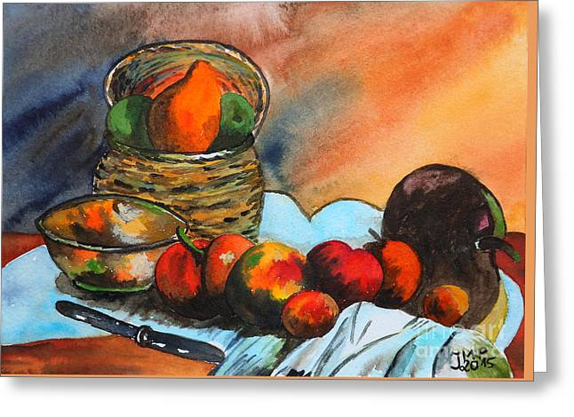 Still Life With Pears Greeting Cards - Still Life with Fruit Basket Greeting Card by Jutta Maria Pusl