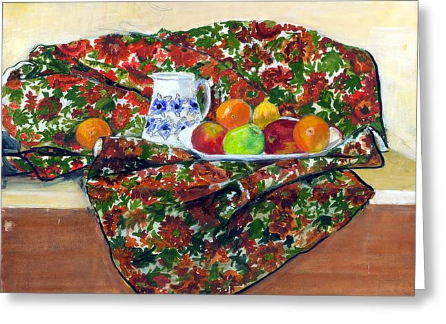 Still Life With Pitcher Paintings Greeting Cards - Still Life with Fruit Greeting Card by Ethel Vrana