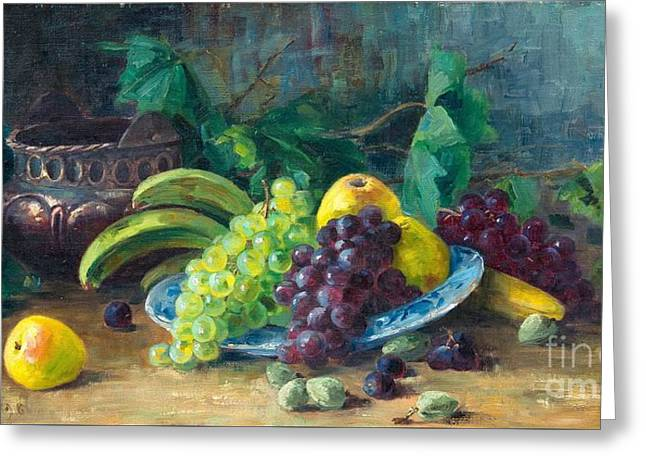 Still Life With Pears Greeting Cards - Still Life With Fruits Greeting Card by Ada Thilen