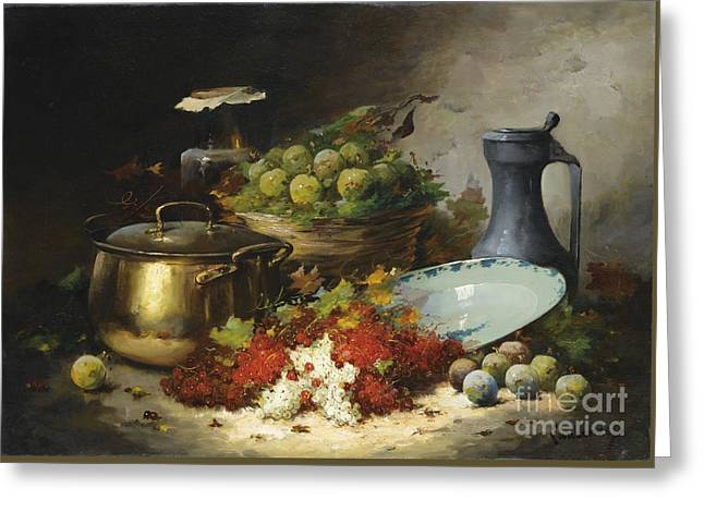 Laurence Greeting Cards - Still Life With Fruits And A Copper Basin Greeting Card by Celestial Images