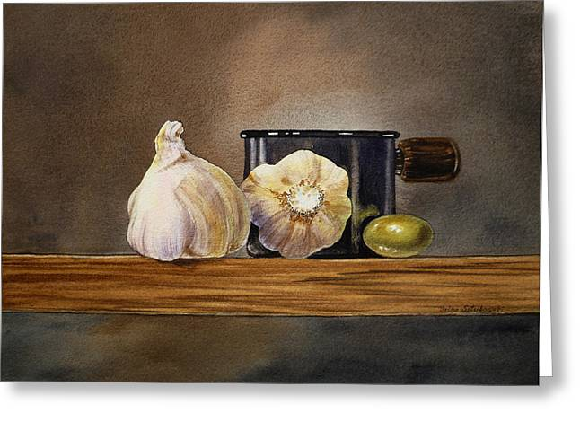 Lemon Art Paintings Greeting Cards - Still Life With Garlic and Olive Greeting Card by Irina Sztukowski