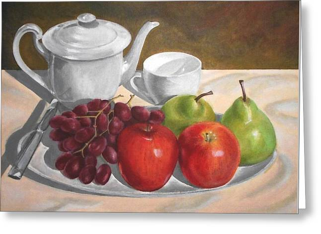 Still Life With Green Apples Greeting Cards - Still Life With Grapes Apples and Pears Greeting Card by Mandy  Dargin