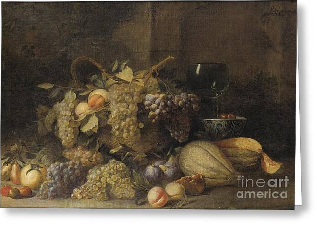 Attributes Greeting Cards - Still Life With Grapes Basket Greeting Card by Attributed To Wouter Mertens