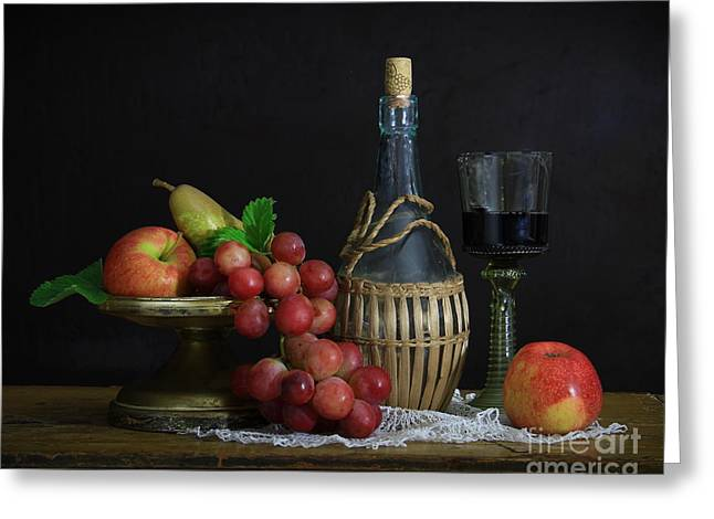 Red Wine Bottle Greeting Cards - Still life with grapes Greeting Card by Dagmar Luhringova