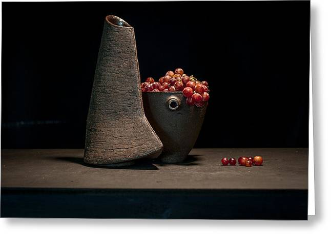 Still Life Ceramics Greeting Cards - Still Life with Grapes Greeting Card by William Sulit