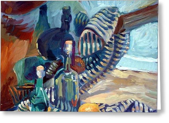 Still Life with guitar Greeting Card by Piotr Antonow