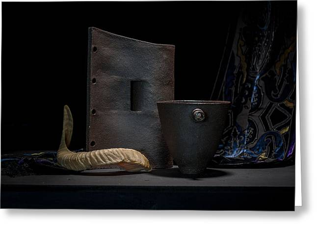 Still Life Ceramics Greeting Cards - Still Life with Horn Greeting Card by William Sulit