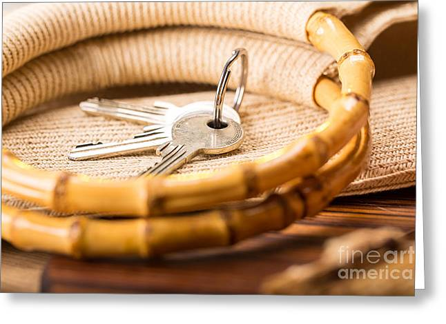 Bamboo House Greeting Cards - Still Life With House Key And Bamboo Handles Of A Shopping Bag Greeting Card by Armin Staudt
