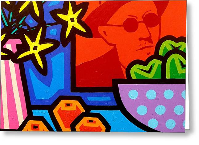 Pop Canvas Paintings Greeting Cards - Still Life With James Joyce  Greeting Card by John  Nolan