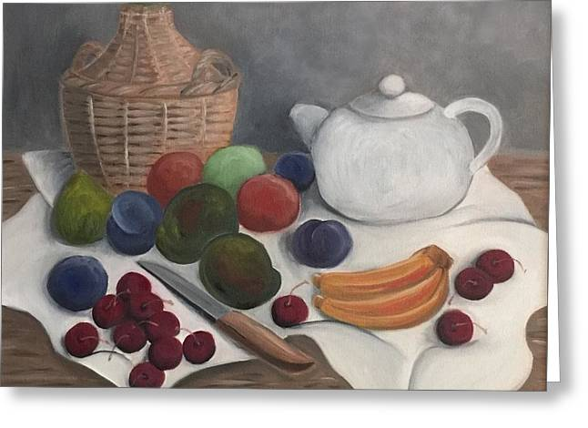Table Wine Greeting Cards - Still Life with Jug Wine and Fruits Greeting Card by Victoria Lakes