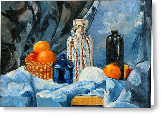 Still Life with Jugs and Oranges Greeting Card by Ethel Vrana