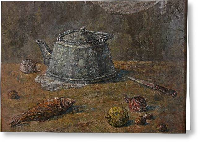 Still Life With Fish Greeting Cards - Still Life with Kettle Greeting Card by Hakob Meltonyan