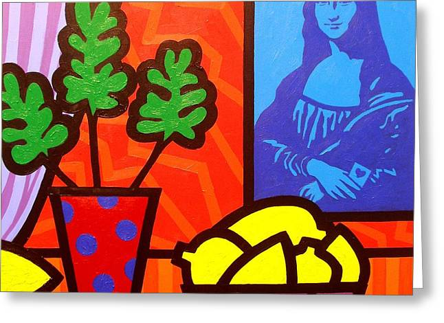 Lemon Art Paintings Greeting Cards - Still Life with Matisse and Mona Lisa Greeting Card by John  Nolan