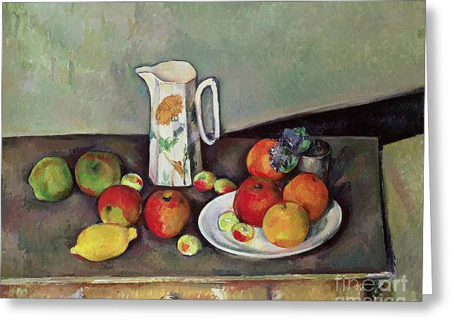 Desk Greeting Cards - Still life with milkjug and fruit Greeting Card by Paul Cezanne