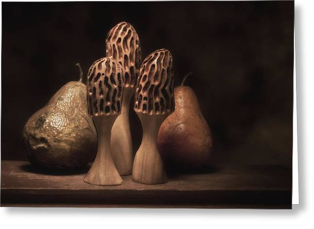 Fungi Photographs Greeting Cards - Still Life with Mushrooms and Pears I Greeting Card by Tom Mc Nemar