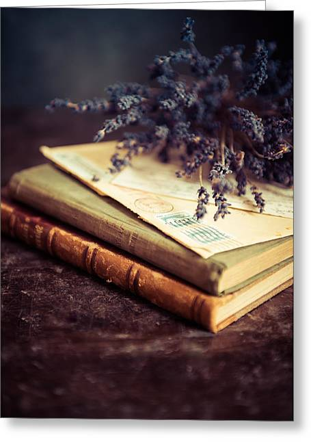 Till Life Greeting Cards - Still life with old books and lavenda flowers Greeting Card by Jaroslaw Blaminsky