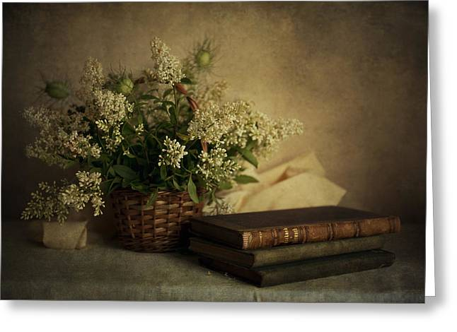 White Cloth Greeting Cards - Still life with old books and white flowers in the basket Greeting Card by Jaroslaw Blaminsky
