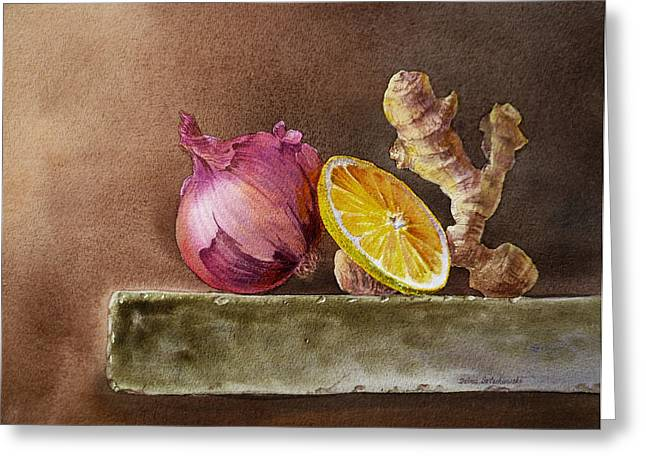 Lemon Art Paintings Greeting Cards - Still Life With Onion Lemon And Ginger Greeting Card by Irina Sztukowski