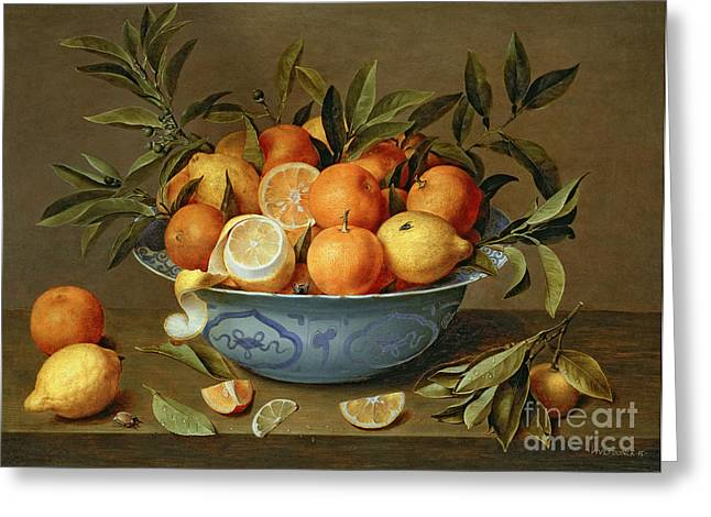 Still Life With Fruit Greeting Cards - Still Life with Oranges and Lemons in a Wan-Li Porcelain Dish  Greeting Card by Jacob van Hulsdonck