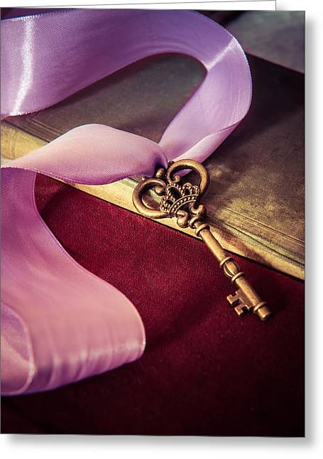 Art Book Greeting Cards - Still life with ornamented key and violet ribbon Greeting Card by Jaroslaw Blaminsky