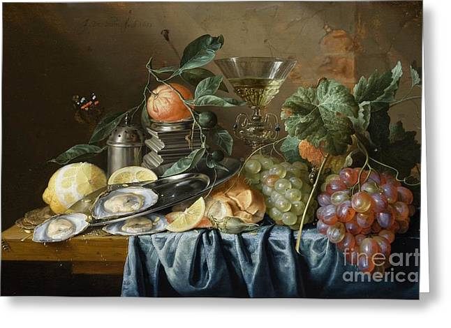 Still-life With Grapes Greeting Cards - Still Life with Oysters and Grapes Greeting Card by Celestial Images