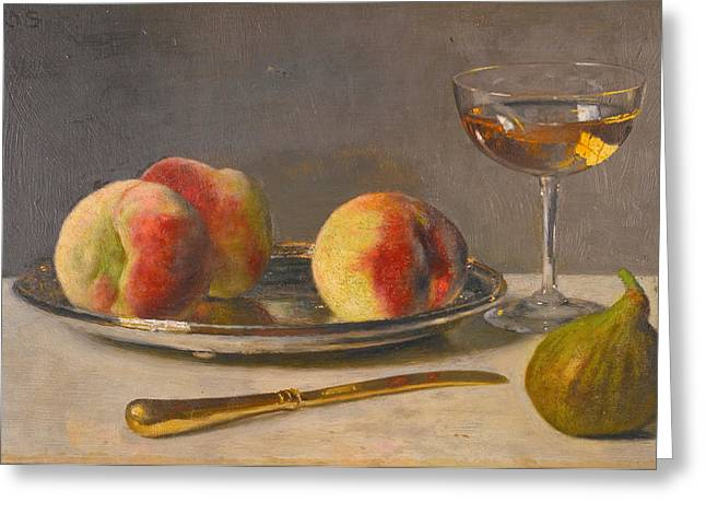 Still-life With Peaches Greeting Cards - Still Life with Peaches and Fig Greeting Card by Otto Scholderer