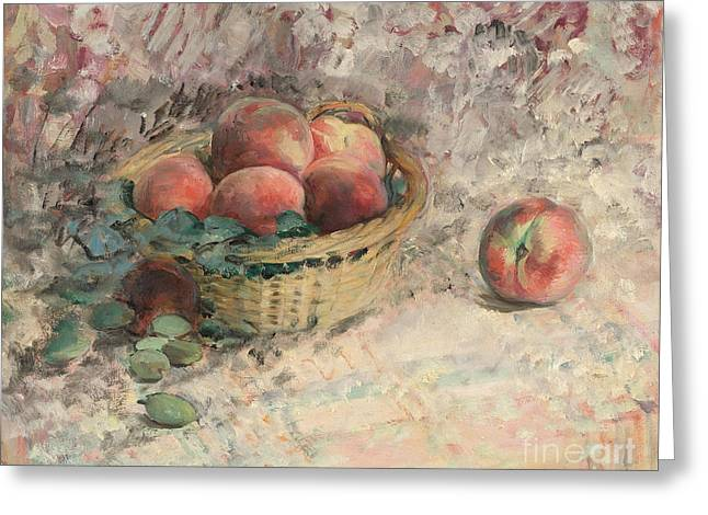 Still-life With Peaches Greeting Cards - Still Life with Peaches Greeting Card by Celestial Images