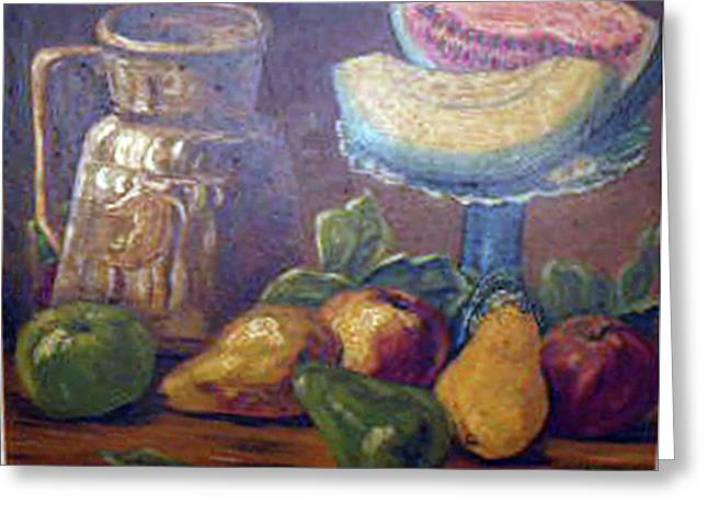 Still Life with Pears and Melons Greeting Card by Hilda Schreiber