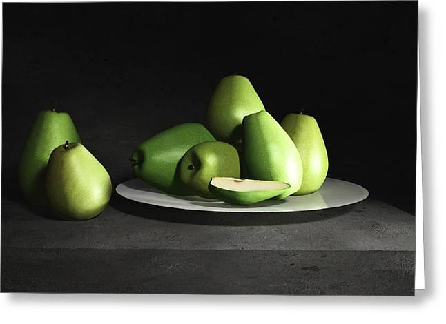 Pear Prints Greeting Cards - Still Life with Pears Greeting Card by Cynthia Decker
