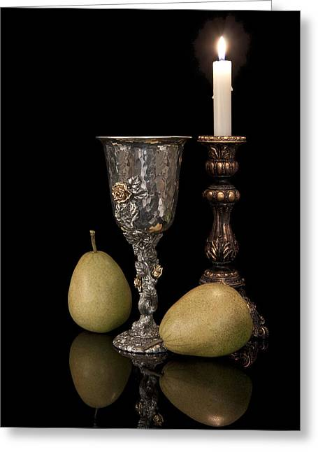 Goblet Greeting Cards - Still Life with Pears Greeting Card by Tom Mc Nemar
